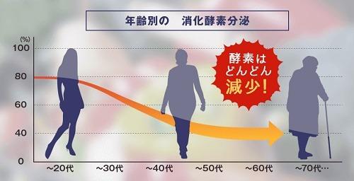 年齢と共に減少する消化酵素
